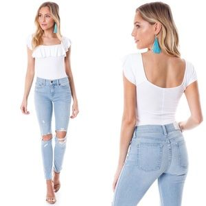 NWT FREE PEOPLE Last Call White Ribbed Flounce Top